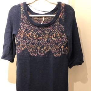Free people Navy blue Deep sweater dress XS NWT